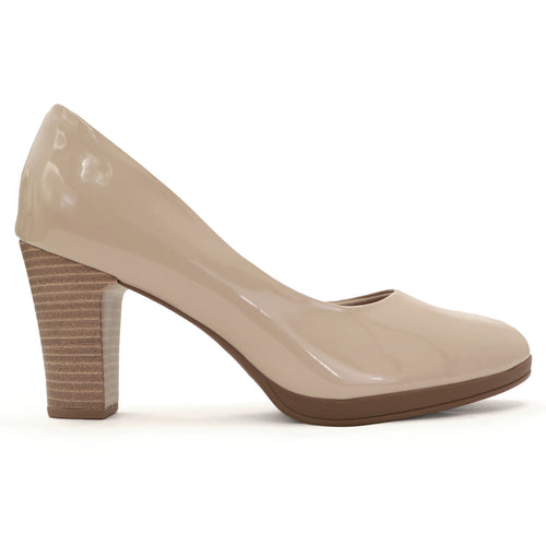 Varnish Ivory Patent Heels for Women (130.185)