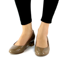 Taupe Pat Pumps for Womens (140.110)