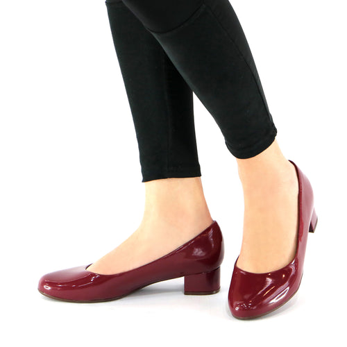 Burgundy Pat Pumps for Womens (140.110)