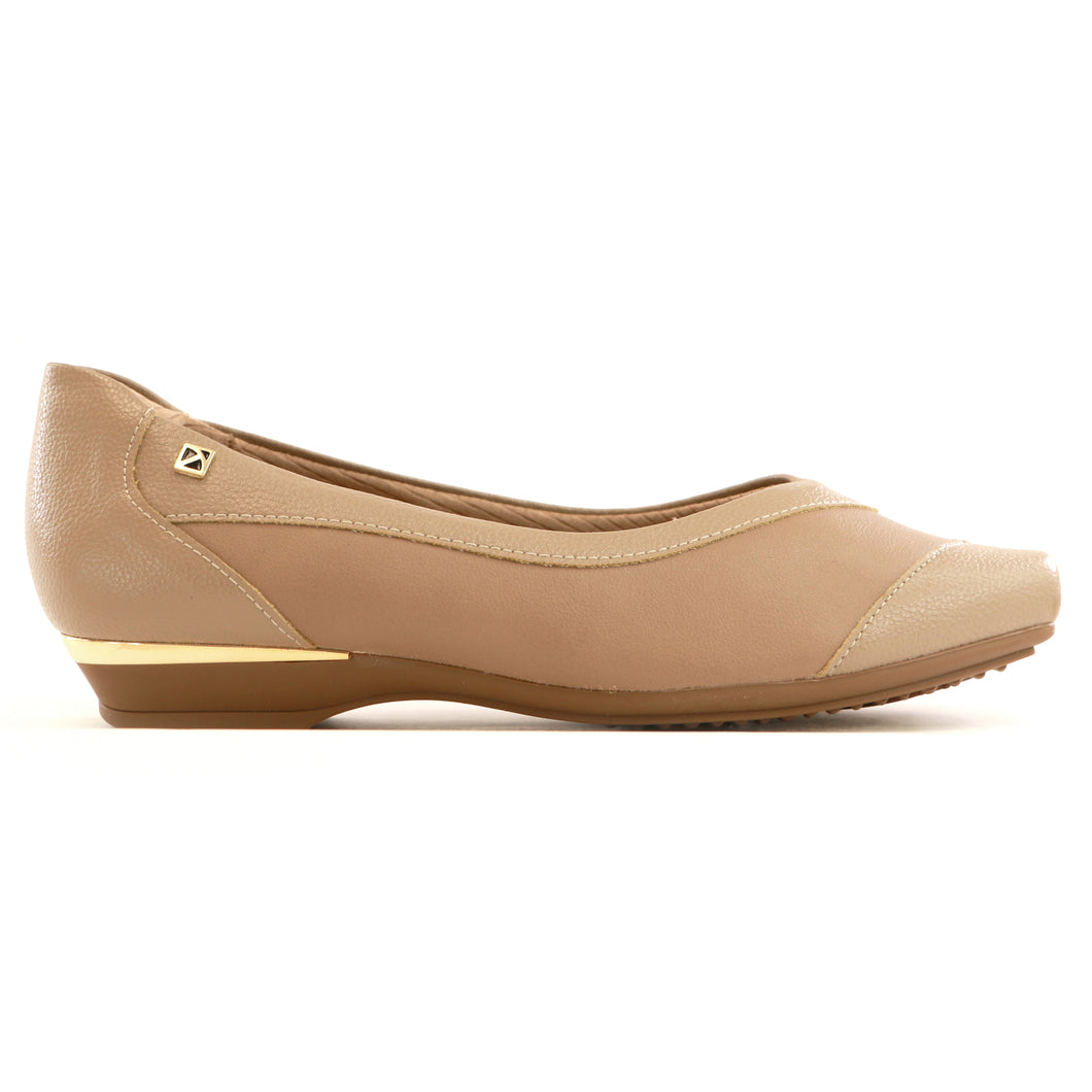 Taupe Flats Ballerina for Women (147.137)