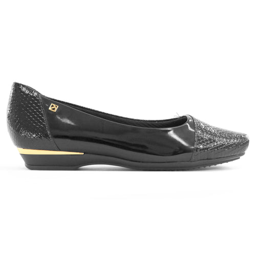 Black and Snake Flats Ballerina for Women (147.158)