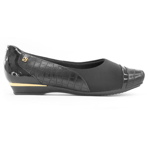 Black and Croco Flats Ballerina for Women (147.159)