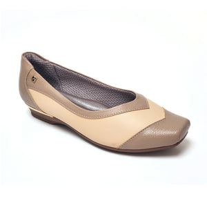 Taupe/Beige Flats Ballerina for Women (147.137) - SIMPLY SHOES HONG KONG
