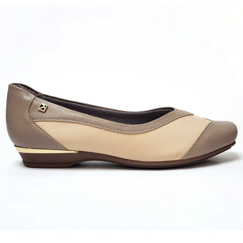 Taupe/Beige Flats Ballerina for Women (147.137)