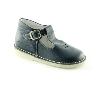 Crafted Navy Leather ballerina shoe (SS-7011)