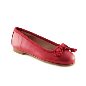 Tangy Red Leather girls ballerina shoe (SS-7025) - SIMPLY SHOES HONG KONG