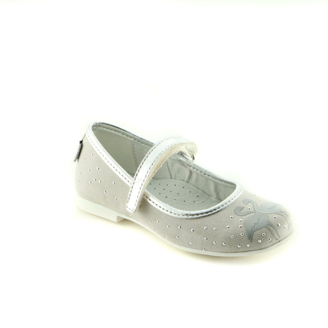 Sparkling Grey Leather girls ballerina (SS-7014) - SIMPLY SHOES HONG KONG