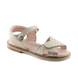 Shiny Beige Leather girls sandal (SS-7029) - SIMPLY SHOES HONG KONG