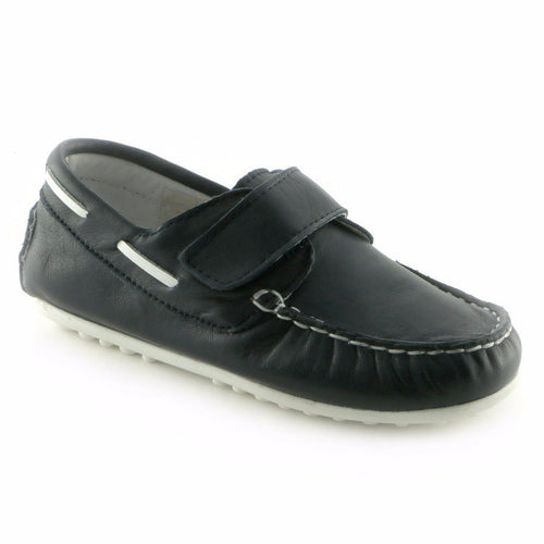 Moccasin'd Navy Leather Boys casual shoe (SS-8006) - SIMPLY SHOES HONG KONG