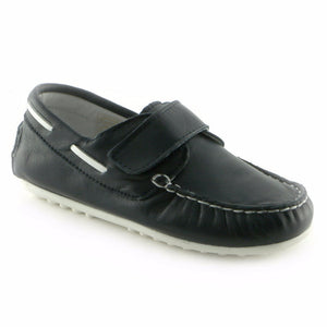 Moccasin'd Navy Leather Boys casual shoe (SS-8006)