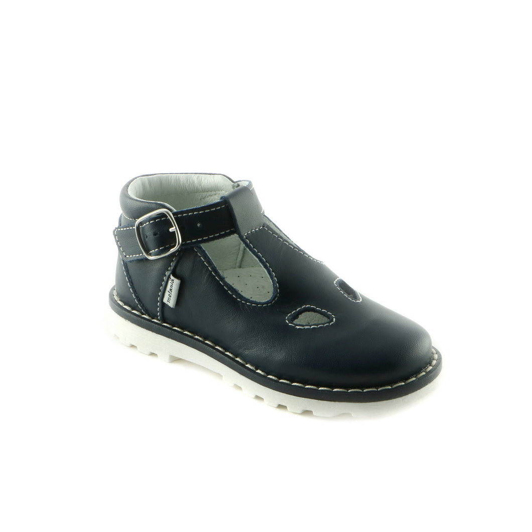 Texture Navy Leather girls shoe (SS-7033)