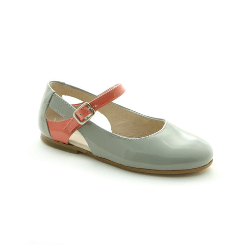 Grey Combo Leather girls ballerina shoe (SS-7010)