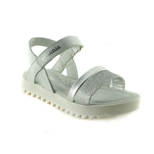 Sparkling Silver Leather girls sandal (SS-7006)