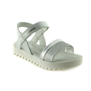 Sparkling Silver Leather girls sandal (SS-7006) - SIMPLY SHOES HONG KONG