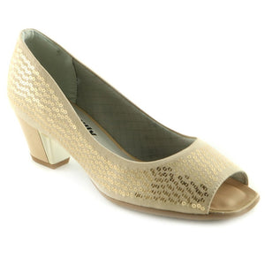 Beige Peep Toe Pumps for Women (714.057)