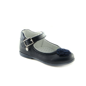 Classic Navy Leather ballerina (SS-7013)
