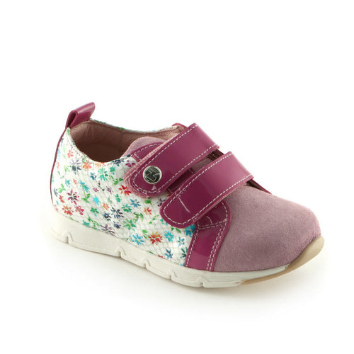 Fuxia Combo Leather girls sneaker (SS-7041) - SIMPLY SHOES HONG KONG