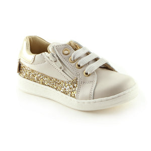 Sparkling Beige Leather girls sneaker (SS-7003)