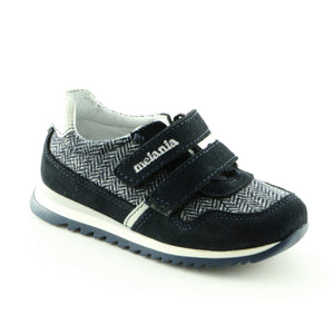Pattern Navy Leather Boys Trainers (SS-8016)