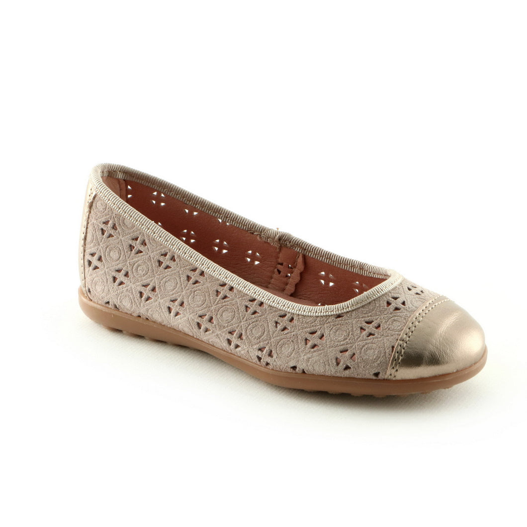 Taupe Combo Leather girls ballerina shoe (SS-7036)