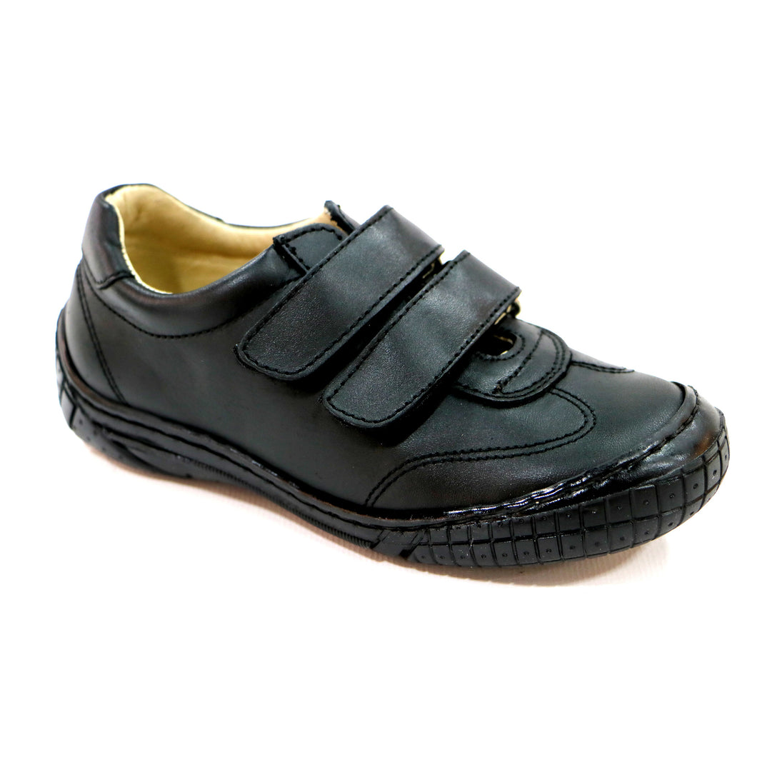 Black leather Boys School Shoes (SS-8020)