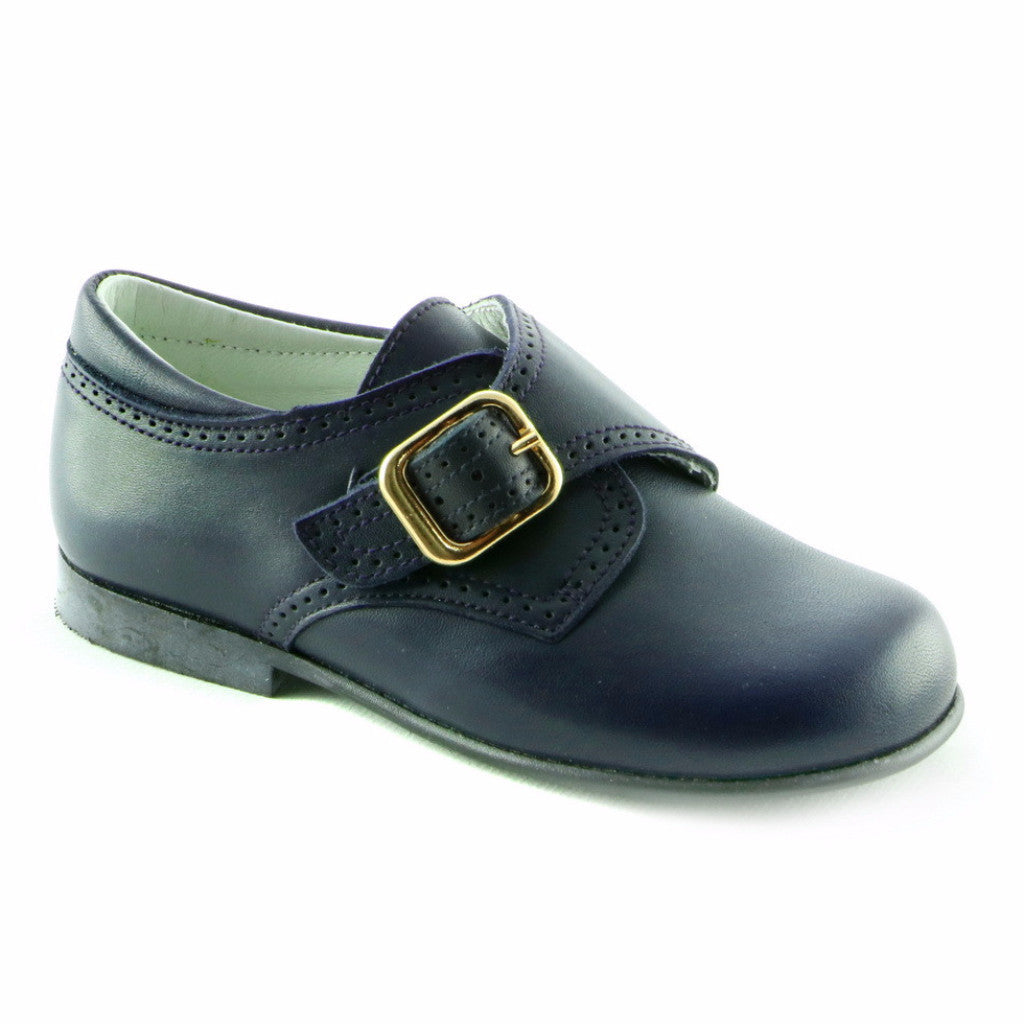 Black Leather Boys School Shoe (SS-8017)