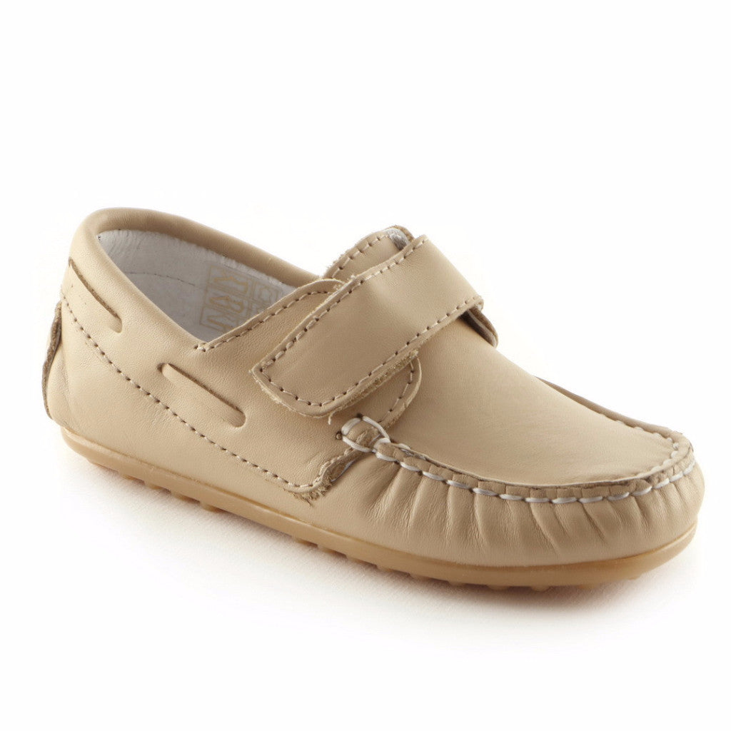 Moccasin'd Beige Leather Boys casual shoe (SS-8015) - SIMPLY SHOES HONG KONG