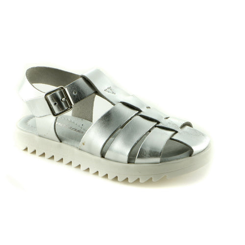 Patent Silver Leather girls sandal (SS-7018)