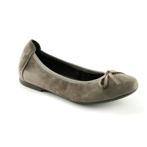 Modern Taupe Leather girls ballerina shoe (SS-7009) - SIMPLY SHOES HONG KONG