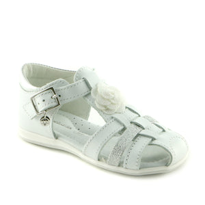 White Bling Leather girls sandal (SS-7015) - SIMPLY SHOES HONG KONG