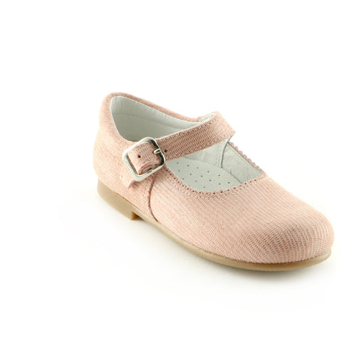 Pearly Peach Leather ballerina shoe (SS-7021) - SIMPLY SHOES HONG KONG