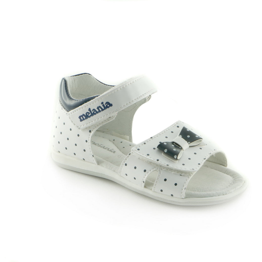 Polka White Leather girls sandal (SS-7008)