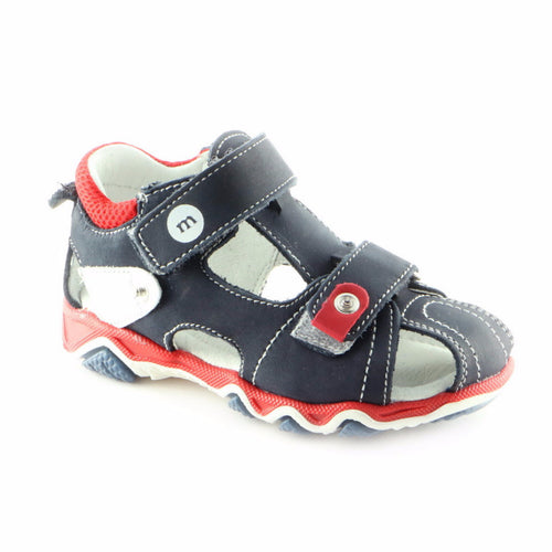 Jumbo Navy Leather Sandals (SS-8013) - SIMPLY SHOES HONG KONG