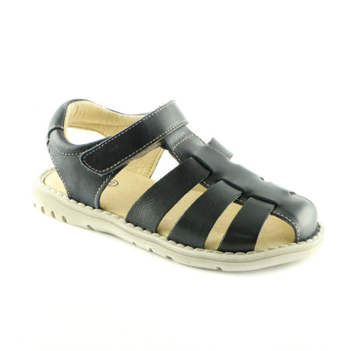 Crafted Black Leather Boys Sandals (SS-8007) - SIMPLY SHOES HONG KONG