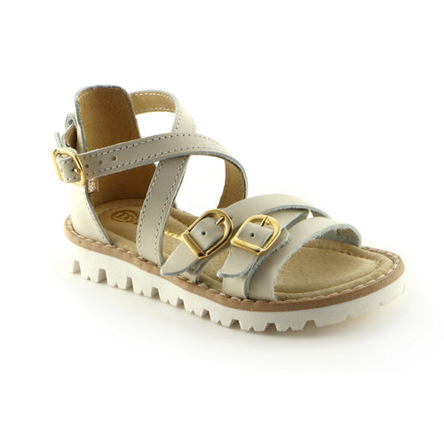 Matt Beige Leather girls sandal (SS-7002)
