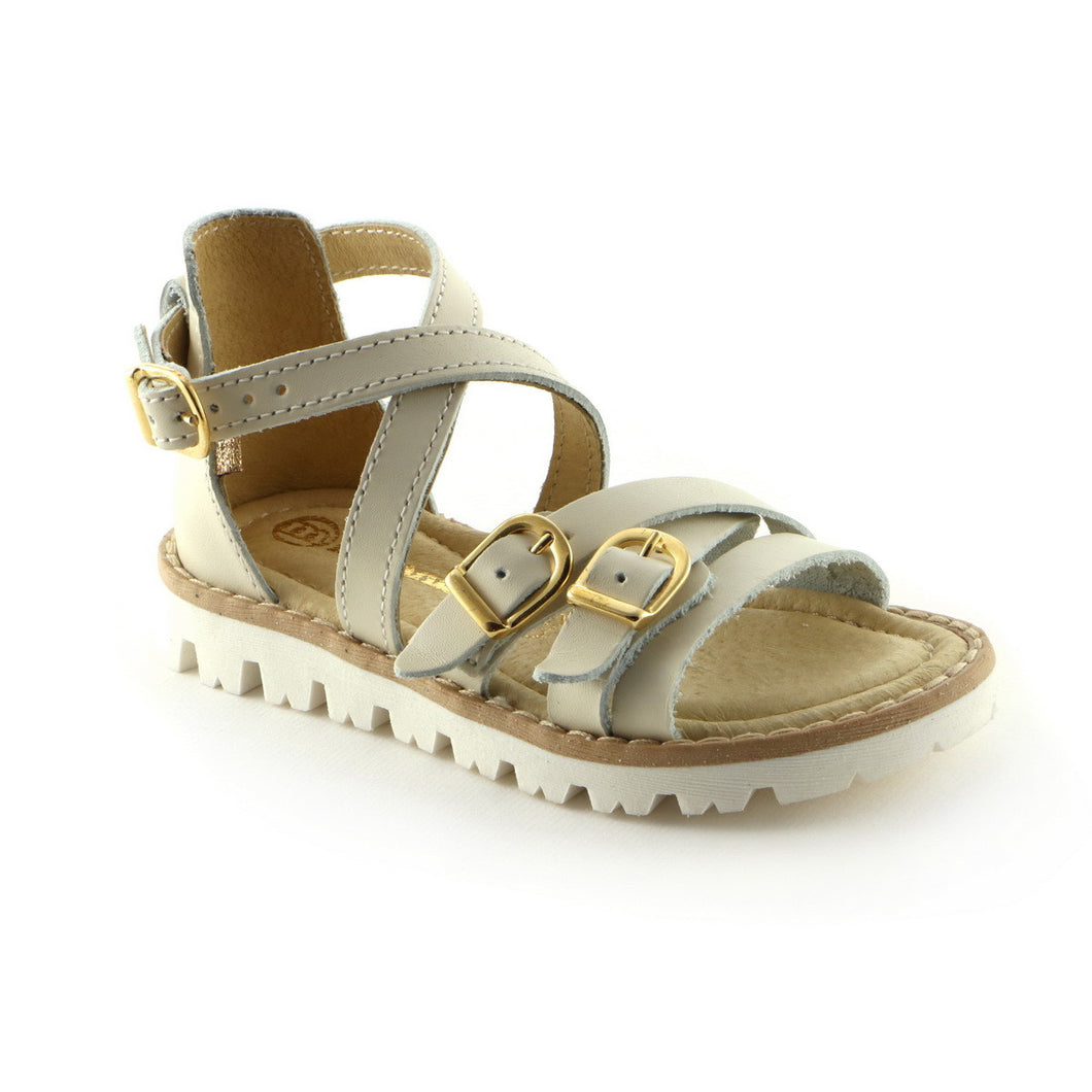Matt Beige Leather girls sandal (SS-7002) - SIMPLY SHOES HONG KONG