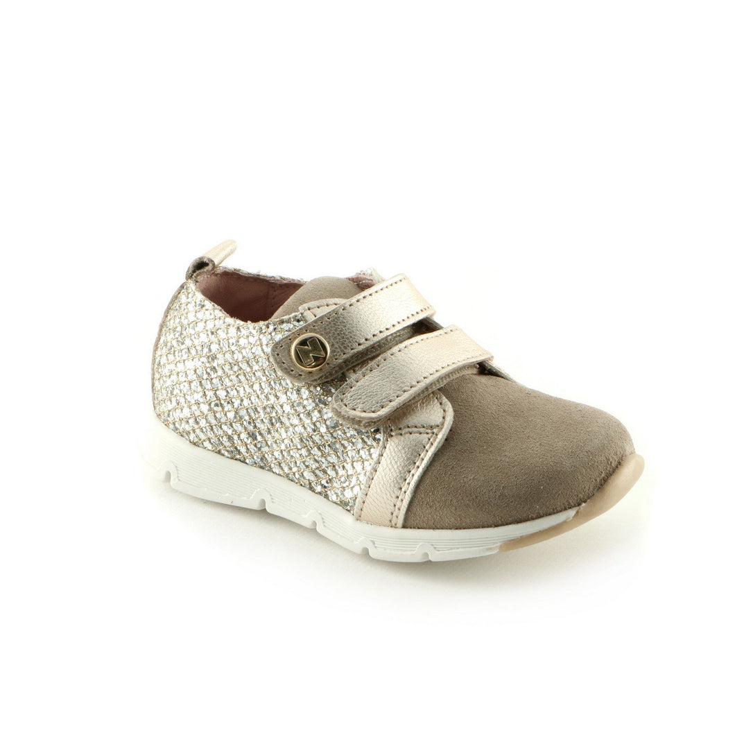 Gold 'n' Tan Leather girls Sneaker (SS-7037) - SIMPLY SHOES HONG KONG