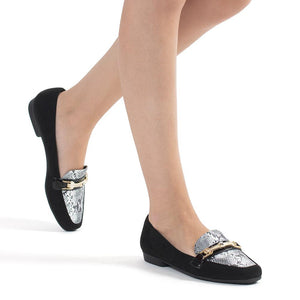 Black/White Flats for Women (251.051) - SIMPLY SHOES HONG KONG