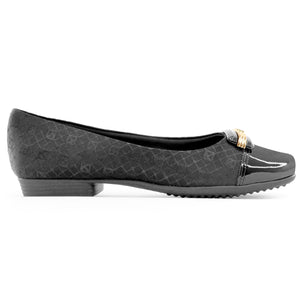 Black with Logo Flat Ballerina (251.086)