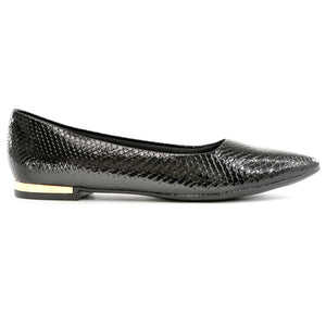 Black Patent Snake Flats for Women (274.047)