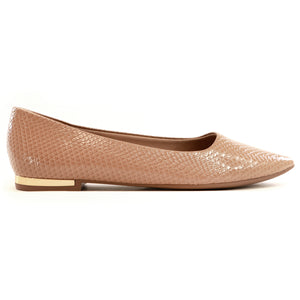Taupe Patent Snake Flats for Women (274.047)