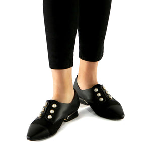 Black Napa with Microfibra and Pearl accessories loafer (278.003) - SIMPLY SHOES HONG KONG