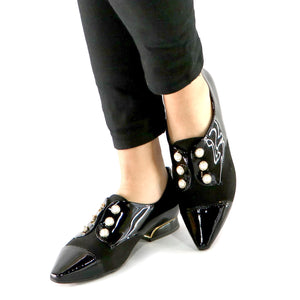 Black Pat with Microfibra and Pearl accessories loafer (278.003)