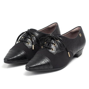 Black Lace-Up Flats for Women (278.019) - SIMPLY SHOES HONG KONG