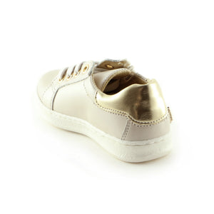 Sparkling Beige Leather girls sneaker (SS-7003) - Simply Shoes Hong Kong