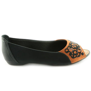 Black/Brown Peep Toe Shoes for Women (707.038) - SIMPLY SHOES HONG KONG