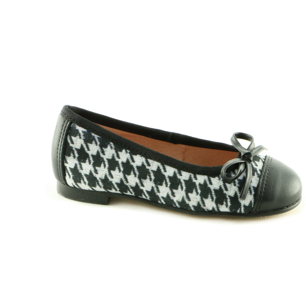 Black Combo Leather girls ballerina shoe (SS-7032)