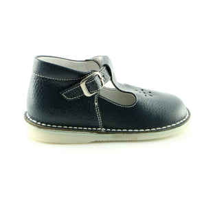 Crafted Navy Leather ballerina shoe (SS-7011) - SIMPLY SHOES HONG KONG
