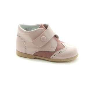 Pink Combo Leather girls shoe (SS-7022)
