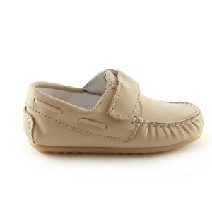 Moccasin'd Beige Leather Boys casual shoe (SS-8015)